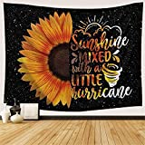 Sunflower Tapestry Black and Yellow Flower in Trippy Mystic Starry Sky Space Tapestry Inspirational Quotes Floral Backdrop for Living Room Bedroom Party Decor, 60'WX40'H