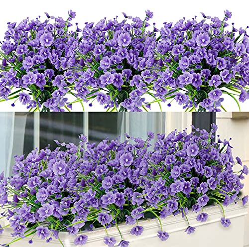 6 Bundles Lush Artificial Flowers Outdoor UV Resistant Fake Plants Silk Flowers No Fade Faux Plastic Flowers for Indoor Outdoor Garden Porch Window Box Wedding Home Decor (Purple)