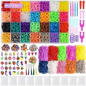 20000+ Loom Bands Kit  19,000 DIY Rubber Bands Kits 38 Unique Colors 500 Clips 40 Charms,Loom Bracelet Making Kits for Kids rainbowgirl Bracelet Kit