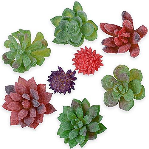 8pcs Plantas Suculentas Artificiales Mini Follaje Plástico Decoración de Hogar Maceta Oficina Jardín Cafetería Boda Fiesta Verde Rojo Púrpura