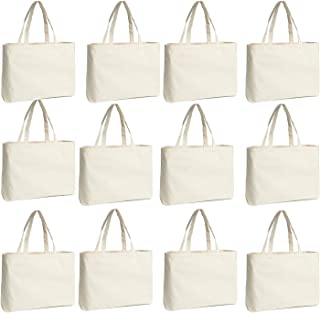 Canvas Tote Bag Bulk, Cotton Foldable Reusable Canvas Bags for Shopping (12 Pack)