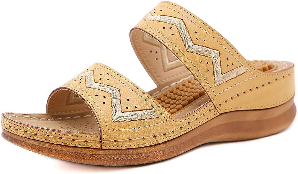 Furcross Women Hollow Out Wedge Sandals Casual Walking Comfortable Slide Sandal