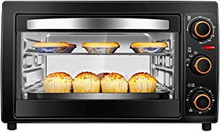 L.TSA Kitchen Mini 25L Horno eléctrico con Control de Temperatura de precisión 0-230 ° C y 0-60min Temporización 1300W Horno pequeño multifunción de Doble Capa Negro