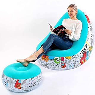 RITONS Inflatable Lounge Chair with Ottoman Blow Up Chaise Lounge Air Lazy Sofa Set Flocked Couch Portable Inflatable Seat...
