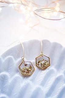 Orecchini in oro esagonale, orecchini a nido d'ape, orecchini geometrici in oro, gioielli delicati, orecchini in resina, g...