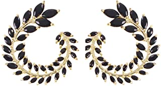 Solememo 14K Gold Plated with CZ Diamond Elegant Stud Earring Celestial Pearl Olive Leaf Hoop Statement Earring for Wedding