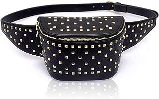 Designer Black Leather Fanny Pack Women Ladies Travel Waist Purse Shoulder Quilted Belt Bag Bum Pouch Hip Bag