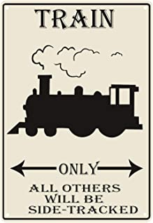 Flytime Train Parking Only All Others Will Be Side Tracked Outdoor Garden Metal Vintage Garage Wall Tin Signs Retro Decor Sign Indoor Road Country 8X12Inch