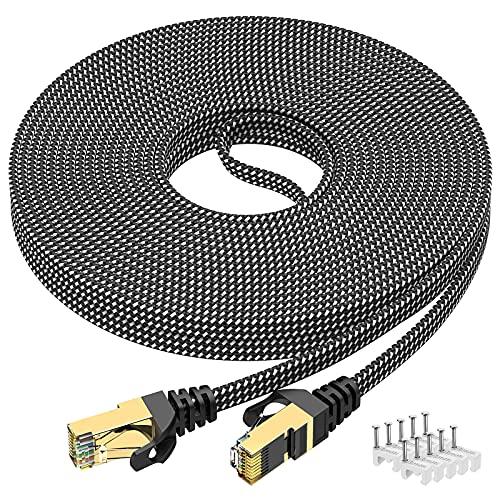 Cavo Ethernet 10m, Cavo Rete Cat 7 10 metri alta velocità 10Gbit / s 600MHz Cavo Ethernet RJ45 Piatto Nylon intrecciato Cavo Professionale STP Placcato oro Cavo wifi per router, modem, switch