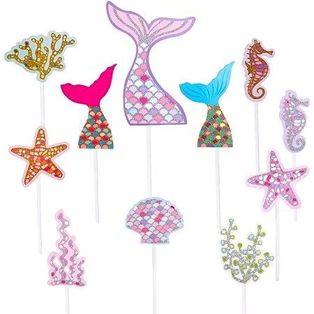 Sirena Cupcake Toppers Lindo Océano Animales en Forma de Pastel Toppers Glitter Torta de Sirena Decoración para Fiesta en el Mar, Fiesta de Cumpleaños, Baby Shower y Fiesta de Bodas 55 Piezas