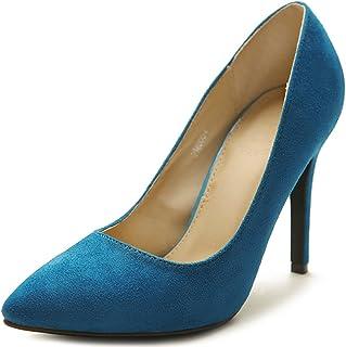 Ollio Women's Faux Suede Point Toe Shoe High Heel Multi Color Pump