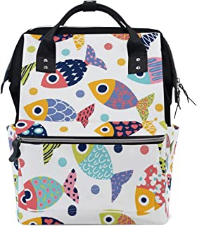 A Seed Baby Diaper Bag Backpack Tote Rainbow Fish Ocean Sea for Mom Dad