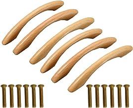 JUN-H 6 stuks stootgreep houten handgrepen meubelgreep grenen greep voor kastdeuren hout booggreep voor meubels deur kast ...
