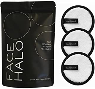 Face Halo | Original Reusable Makeup Remover Pads, Black Round Makeup Remover Pads for Heavy Makeup & Masks - Microfiber Makeup Remover Wipes for Mascara, Eye Shadow, Lipstick, Foundation (3 Pack)