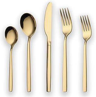 Berglander 20 Piece Titanium Gold Plated Stainless Steel Flatware Set, 20 Pieces Golden Silverware Set, Golden Cutlery Set...