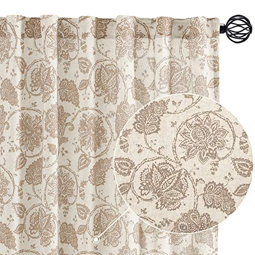 """jinchan Floral Scroll Printed Linen Curtains, Rod Pocket Back Tab - Ikat Flax Textured Medallion Design Jacobean Curtains Retro Living Room Curtain Sets (Taupe, 50"""" x 84"""", 2 Panels)"""