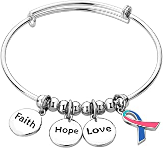 كريس جونسون شريط سرطان الثدي الحب الأمل للتوعية بالإسورة سحر سوار قابل للتعديل هدايا دعم السوار للنساء والأم