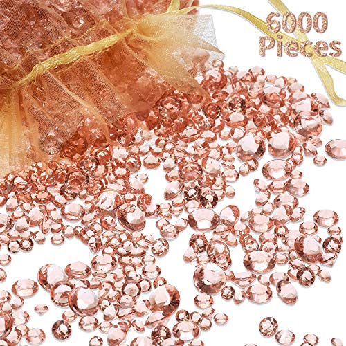 Hicarer 6000 Pieces Acrylic Diamonds Clear Table Scatter Crystals for Vase Filler Christmas Wedding Birthday Party Table Decorations (Rose Gold)