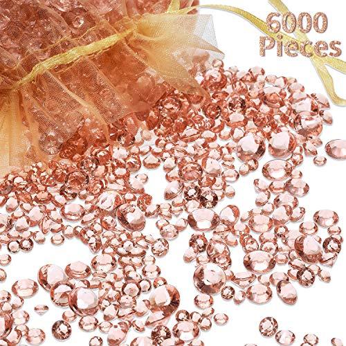6000 Stücke Rose Gold Acryl Diamanten Klare Tabelle Scatter Kristalle für Vase Füllstoff Weihnachten Hochzeit Geburtstag Party Tischdekoration (Rosa Gold)