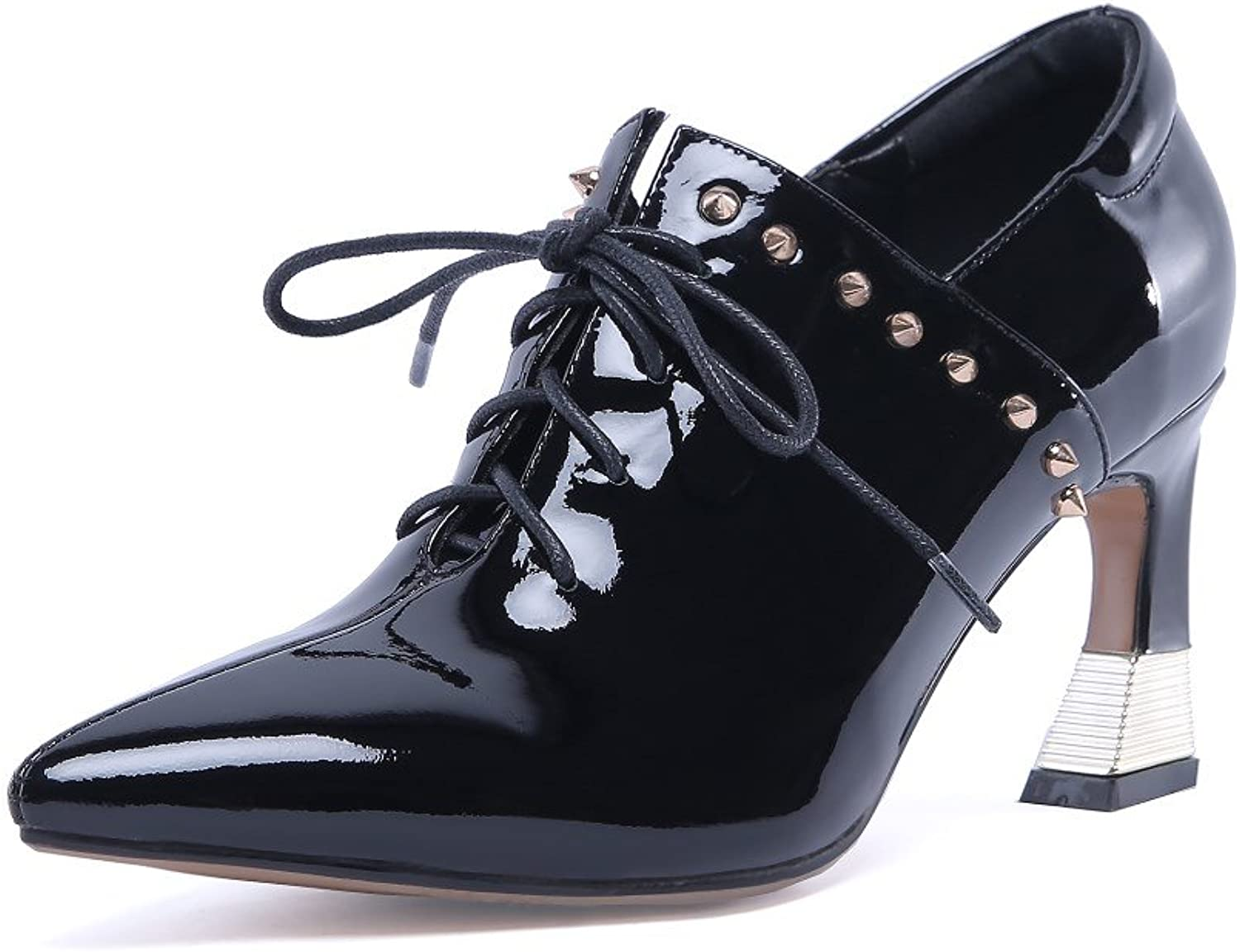 Nine Seven Patent Leather Women's Pointy Toe Lace Up Pumps - Handmade Gorgeous Comfort High Heel Dress shoes