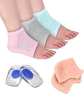 RUDRESHWAR Moisturizing Gel Heel Socks 1 Pair, Silicon gel heel pad Socks 1 Pair, Heel Protector Insole Cups 1 Pair (Multi...
