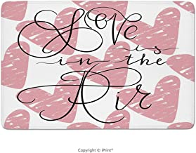 Bathroom Rug,Saying, Ink Brush Love is in The Air Calligraphy On Grunge Hearts, Charcoal Grey Pale White, Non Slip Coral Velvet Foam Bath Mat,Soft Absorbent Shower Mat Kitchen Rug