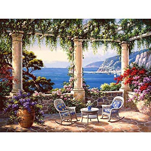 Schilderen op nummer DIY Dropshipping 40x50cm Gezellig paviljoen aan zee Landschap Canvas Bruiloft Decoratie Kunstfoto Cadeau Geen lijst