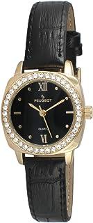 ساعة بيجو ذهبية رسمية للنساء مرصعة بالكريستال وبسوار جلدي