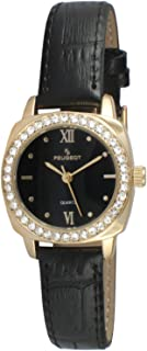 Peugeot Women Round Gold Dress Watch with Crystal Bezel and Leather Strap