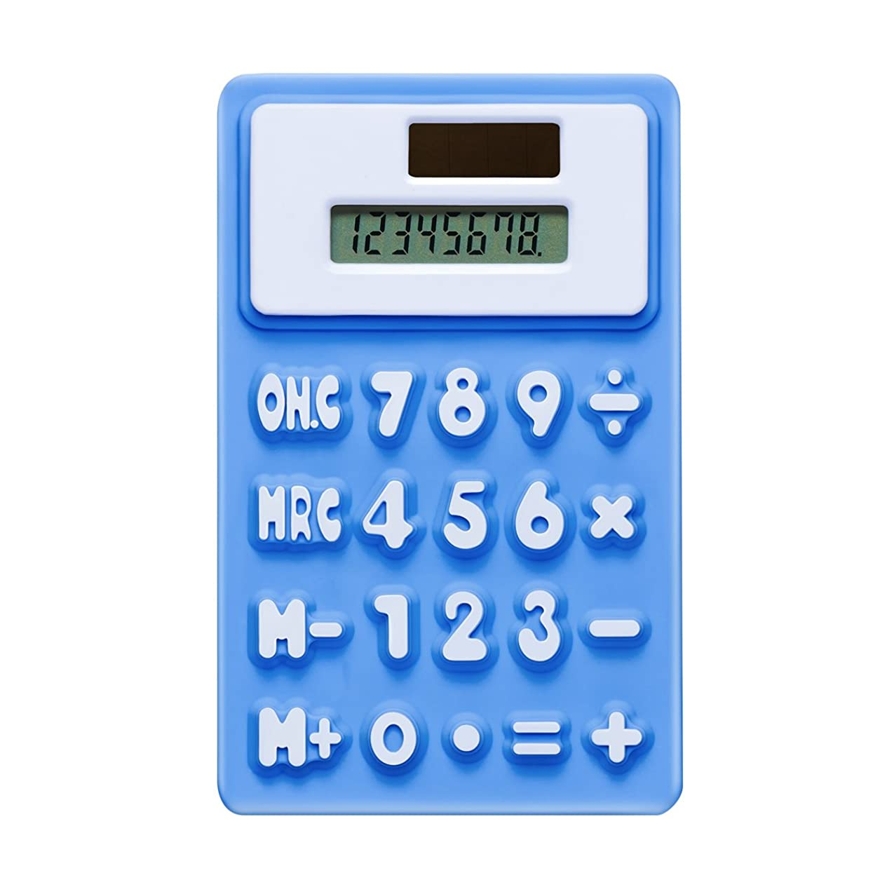奴隷聖人健康的8桁デュアルデスクトップ電卓、ソーラーエネルギー、LCD表示(ブルー)