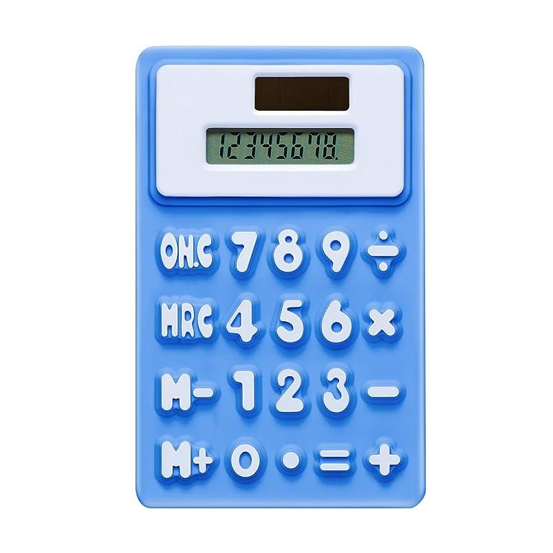 寮対角線ブレス8桁デュアルデスクトップ電卓、ソーラーエネルギー、LCD表示(ブルー)
