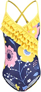 Girls One Piece Swimsuits Hawaiian Ruffle Bathing Suit Kids Floral Swimwear Navy Size 6/6X