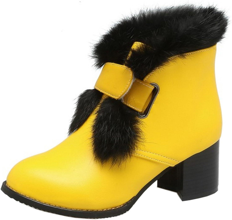 AicciAizzi Women Fashion Chunky Heel Ankie Boots Velcro