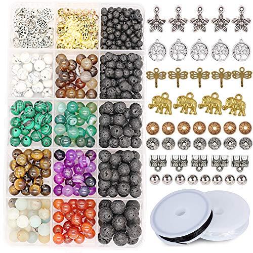 Juego de 465 cuentas de piedra Civilipi con cuentas de lava a rayas, cuentas sueltas con abalorios, accesorios para pulsera y collar