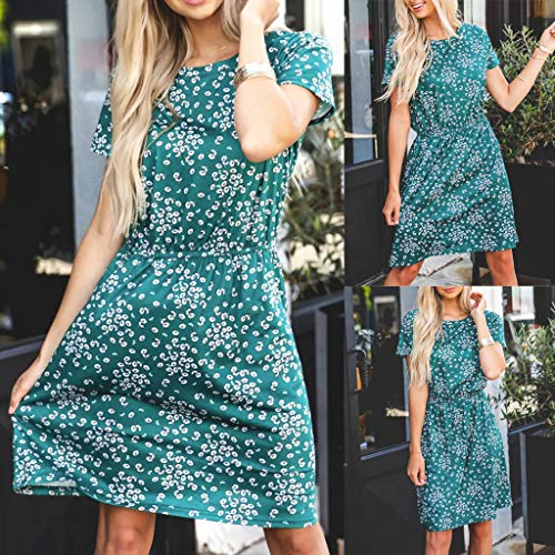 Fashion Womens O-Neck Printing Tightness Short Sleeve Easy Mini Dress Mini Woman Dress XL