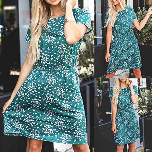 Fashion Womens O-Neck Printing Tightness Short Sleeve Easy Mini Dress Mini Woman Dress XL