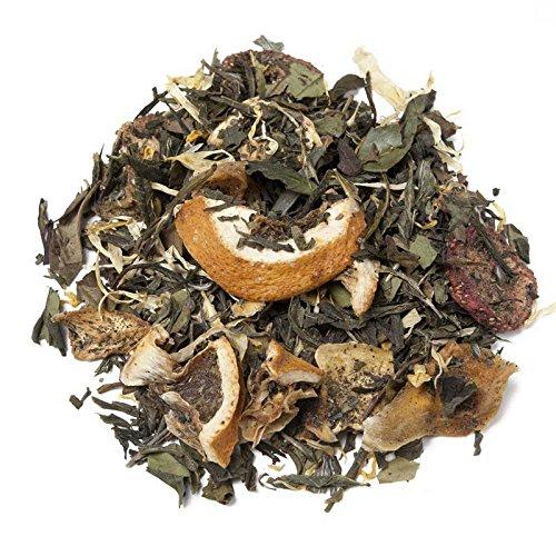 Aromas de Té - Té Verde y Blanco Efecto Digestivo Sabor Sorbete de Fresa/Té Efecto Diurético Blanco y Verde Sabor Fresa, 75 gr