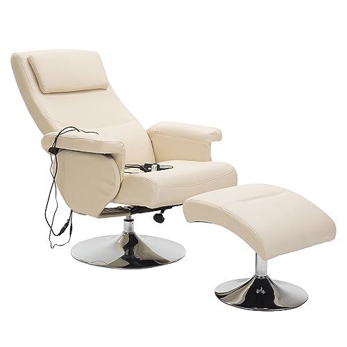 Homcom Fauteuil de Massage et Relaxation électrique Chauffant pivotant inclinable avec Repose-Pied crème