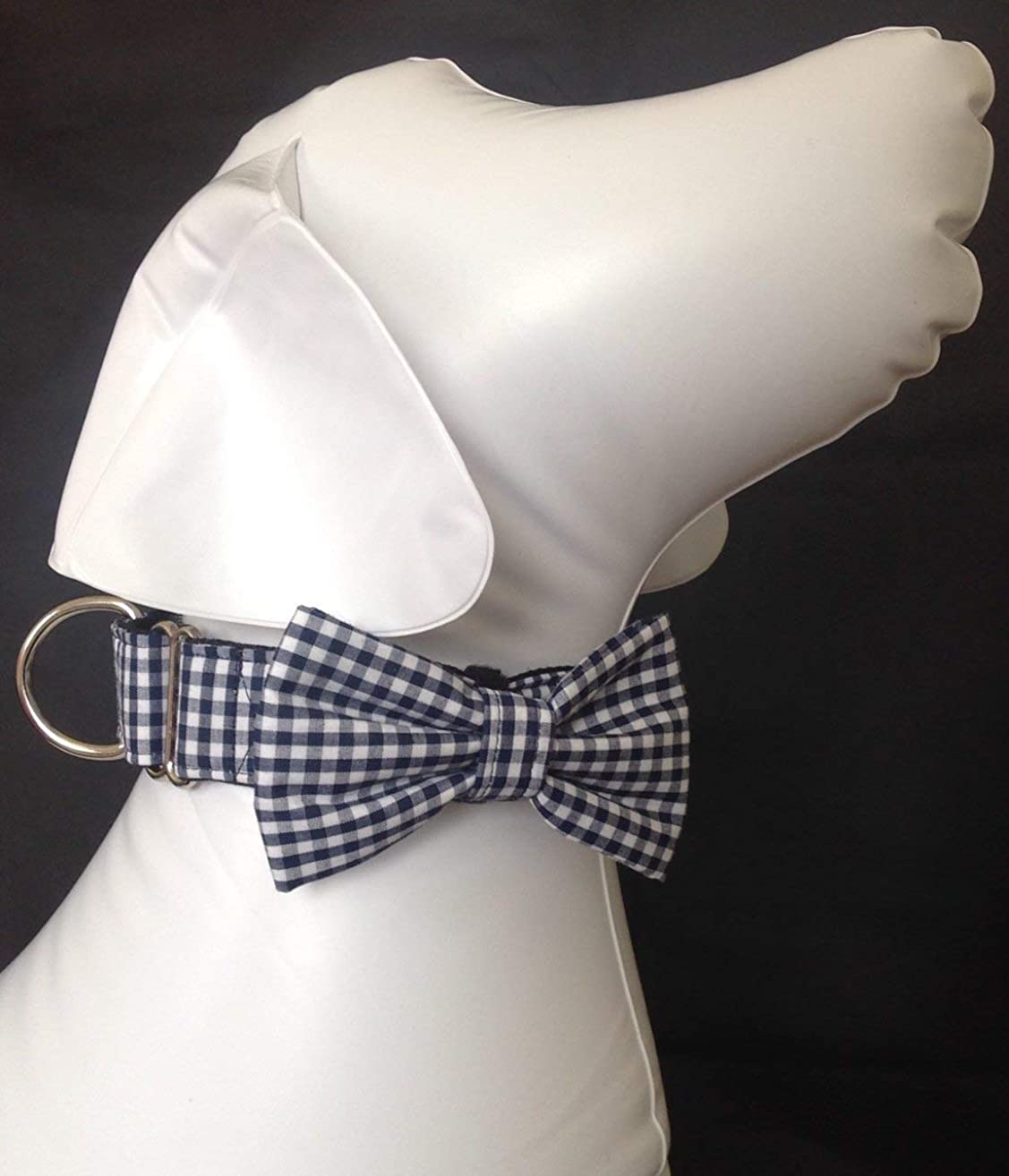 Martingale Dog Collar Bow Tie Set + Navy Blue Gingham + Slip On Dog Collar + Adjustable Sizes Small, Medium, Large, Extra Large