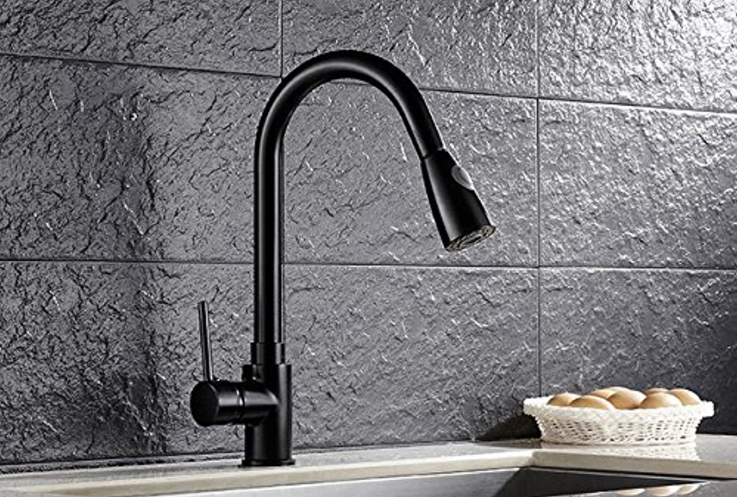 Diongrdk Kitchen Pull-Out Faucet Flume, Dish Washing Basin, Cold and Hot redating Black Faucet