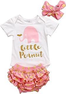 f8a2e9347b989 Baby Girls 3pcs Short Sleeve Little Peanut Bodysuit Polka Dots Ruffle  Shorts Outfit Headband