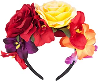 Gorse Mexican Headband Frida Kahlo Mexican Flower Crown Day of The Dead Headpiece for Party Costume Dia de Los Muertos(11 flowers)