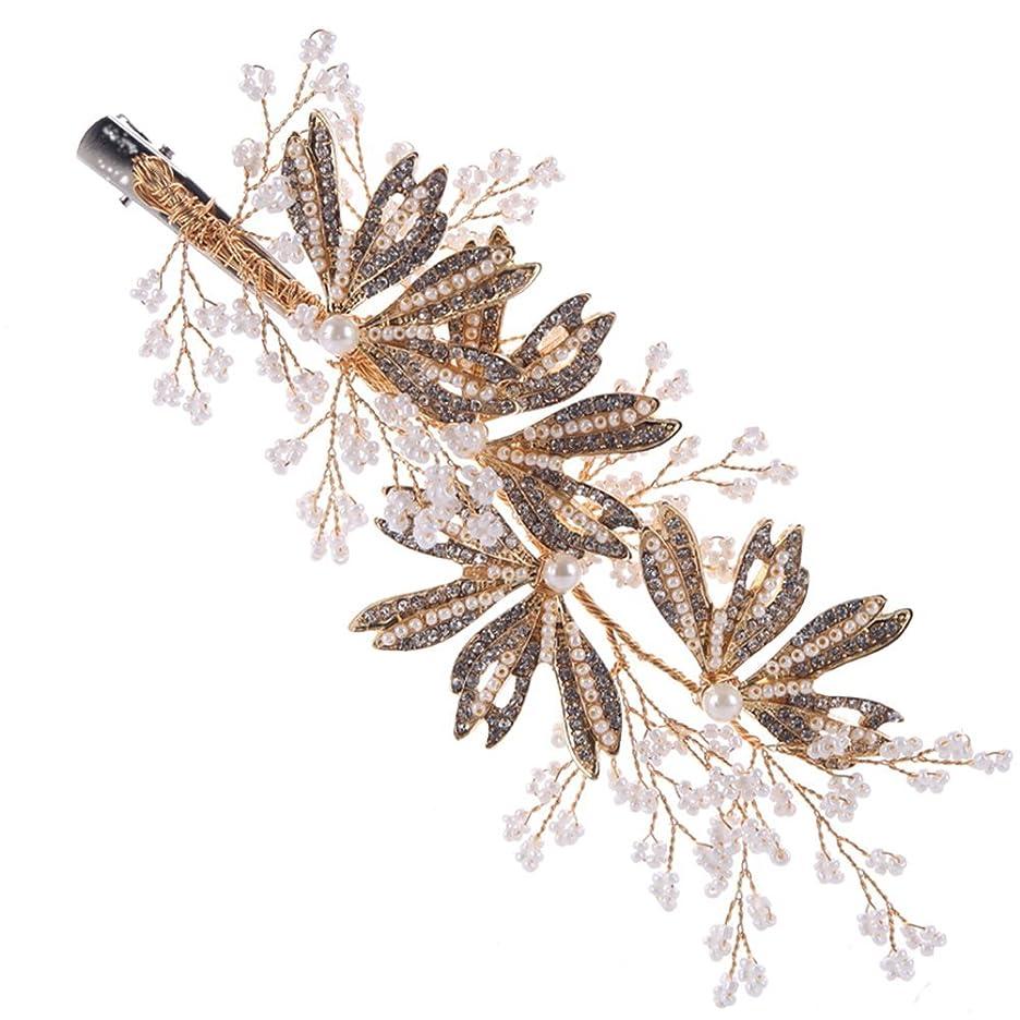 輝く山積みの引き金FENICAL 花嫁の花のサイドヘアクリップビーズヘアピンヘッドウェアヘアウェディングアクセサリー