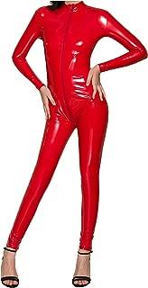 Womens Patent Leather Long Sleeve Zipper Lingerie Full Bodysuit Clubwear