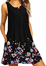 Clearance! Women's Loose Sleeveless T-Shirt Dresses Casual Swing Floral Lace Print Party Mini Dress Plus Size Pockets S-2XL