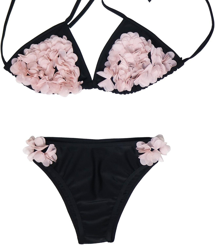 Sexy 3D Flower Bikini Sets Swimsuit Womens Sexy Low Waist Two Piece Swimwear