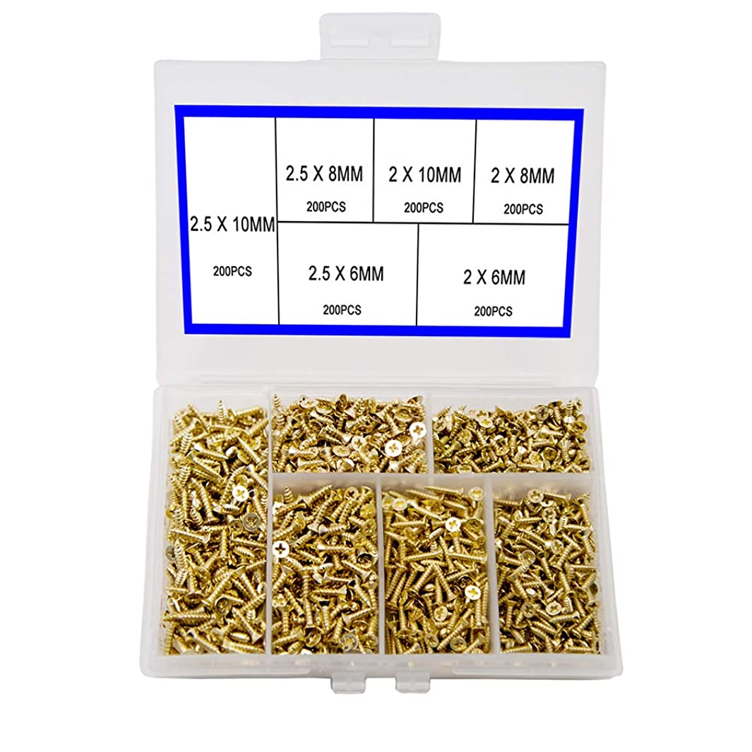 Small Screw Flat Head Cross Self Tapping Screw Cabinet Door Hinge Fittings Multifunctional DIY Micro Screw Set Gold 1200PCS