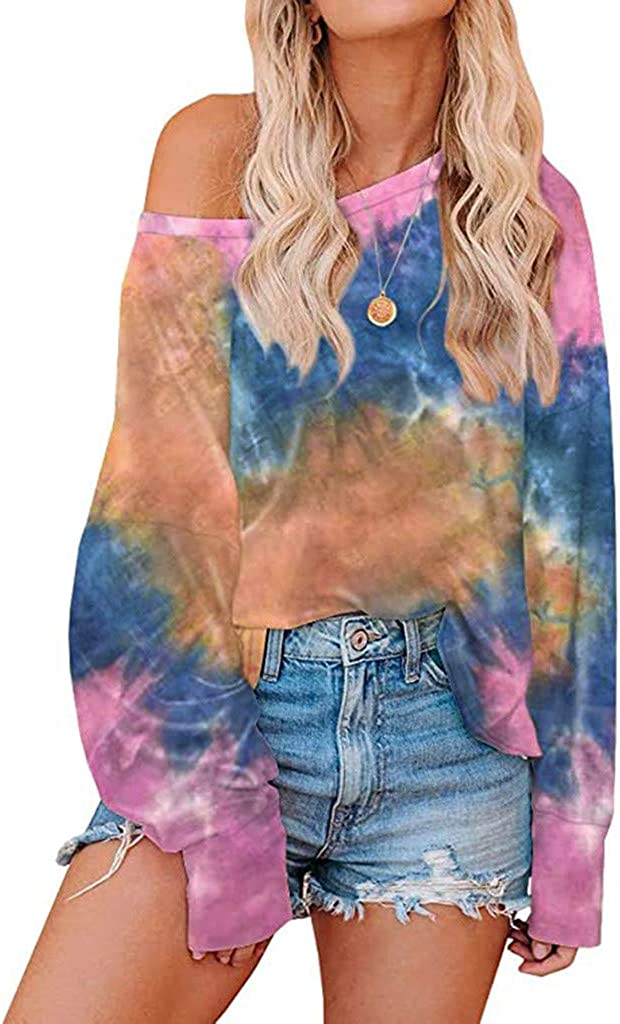 Sweatshirts for Women,Womens Trendy Tie Dye Round Neck Cold Shoulder Long Sleeve Casual Loose Pullover Tunic Top