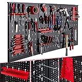 Arebos Werkzeugwand dreiteilig | 17-teiliges Hakenset | 120 x 60 x 2 cm | Werkzeug Lochwand aus Metall + Halterungen + Montagematerial