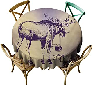 Oil-Proof and Leak-Proof Tablecloth Moose Hipster Deer with Shade Sunglasses and Camera Vintage Ombre Design Funny Animal Art Table Decoration D59 Purple Beige